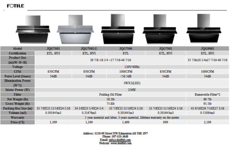 """Picture of FOTILE 30"""" Range Hood JQG7505 Side Draft Air Filtration /Dual DC-Motor /Hands Free On and Off /Touchscreen with 4 Speed"""