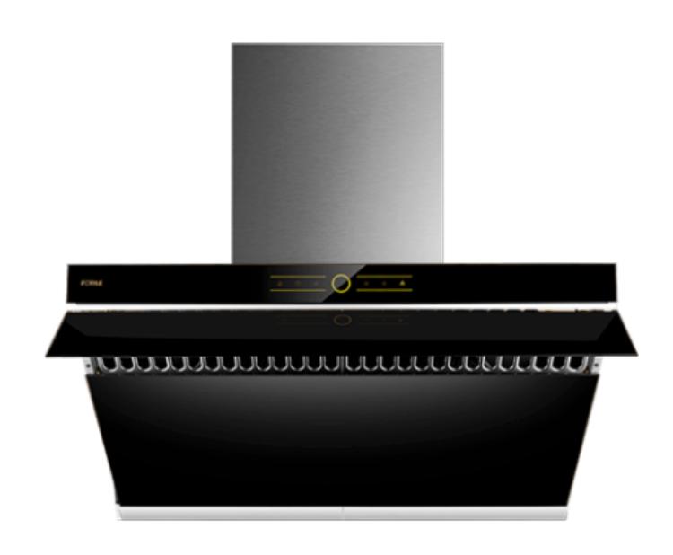 "Picture of FOTILE JQG9001 36"" Range Hood   Unique Side-Draft Design for Under Cabinet or Wall Mount   Modern Kitchen Vent Hood   Powerful Motor   LED Lights   Onyx Black Tempered Glass Surface"